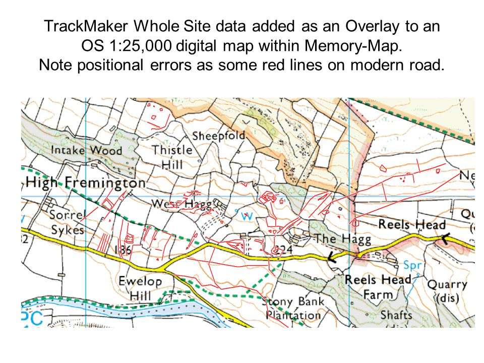 TrackMaker Whole Site data added as an Overlay to an OS 1:25,000 digital map within Memory-Map.