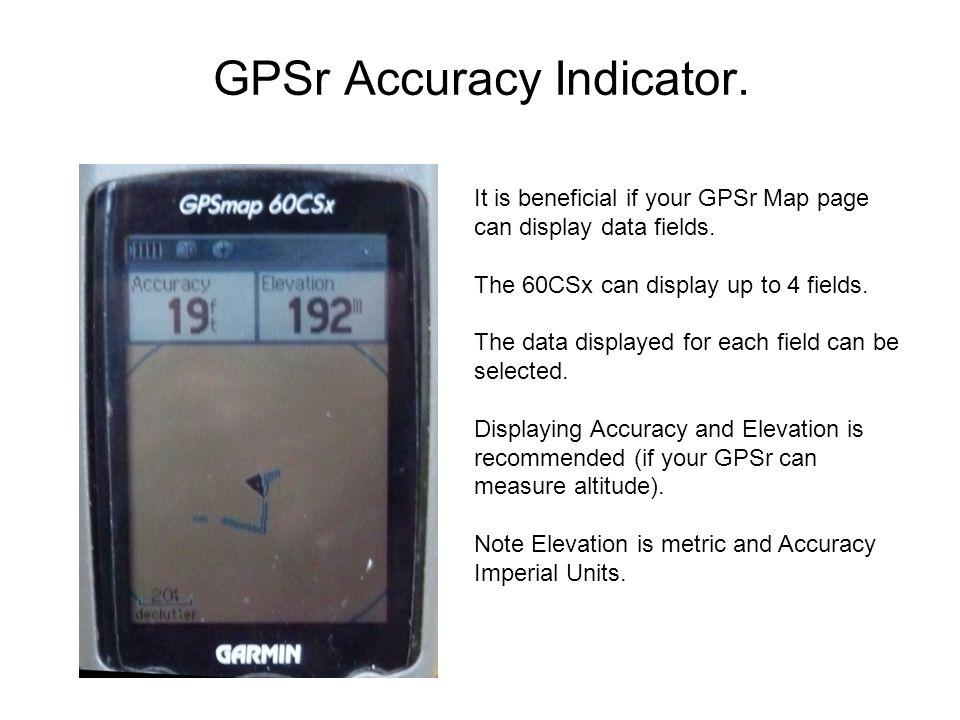 GPSr Accuracy Indicator. It is beneficial if your GPSr Map page can display data fields.