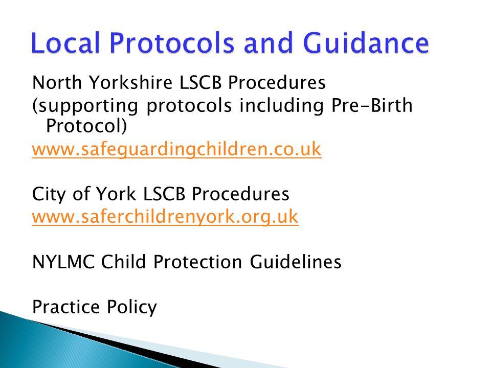 North Yorkshire LSCB Procedures (supporting protocols including Pre-Birth Protocol) www.safeguardingchildren.co.uk City of York LSCB Procedures www.sa