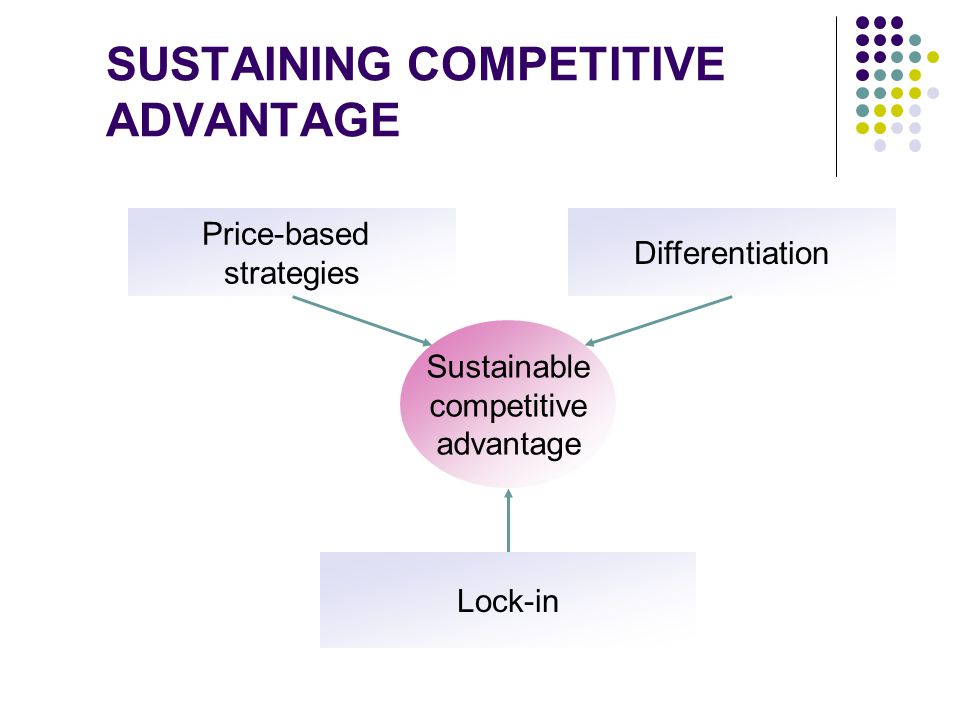SUSTAINING COMPETITIVE ADVANTAGE Sustainable competitive advantage Price-based strategies Lock-in Differentiation