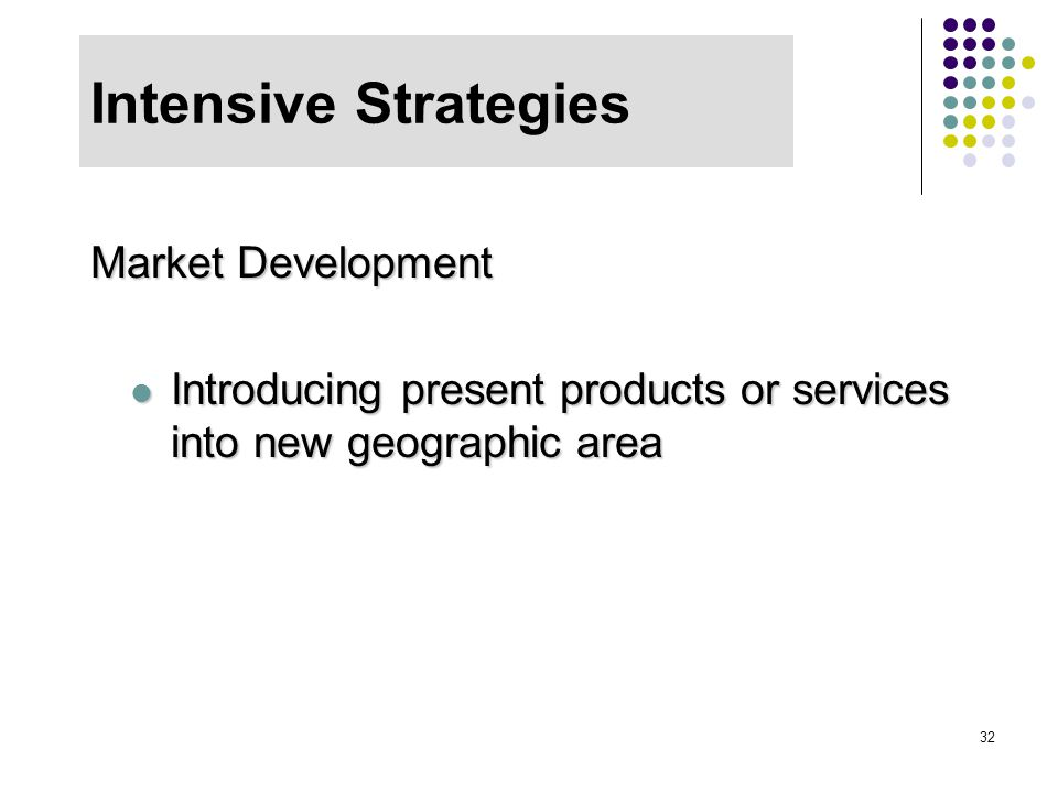 32 Intensive Strategies Market Development Introducing present products or services into new geographic area Introducing present products or services