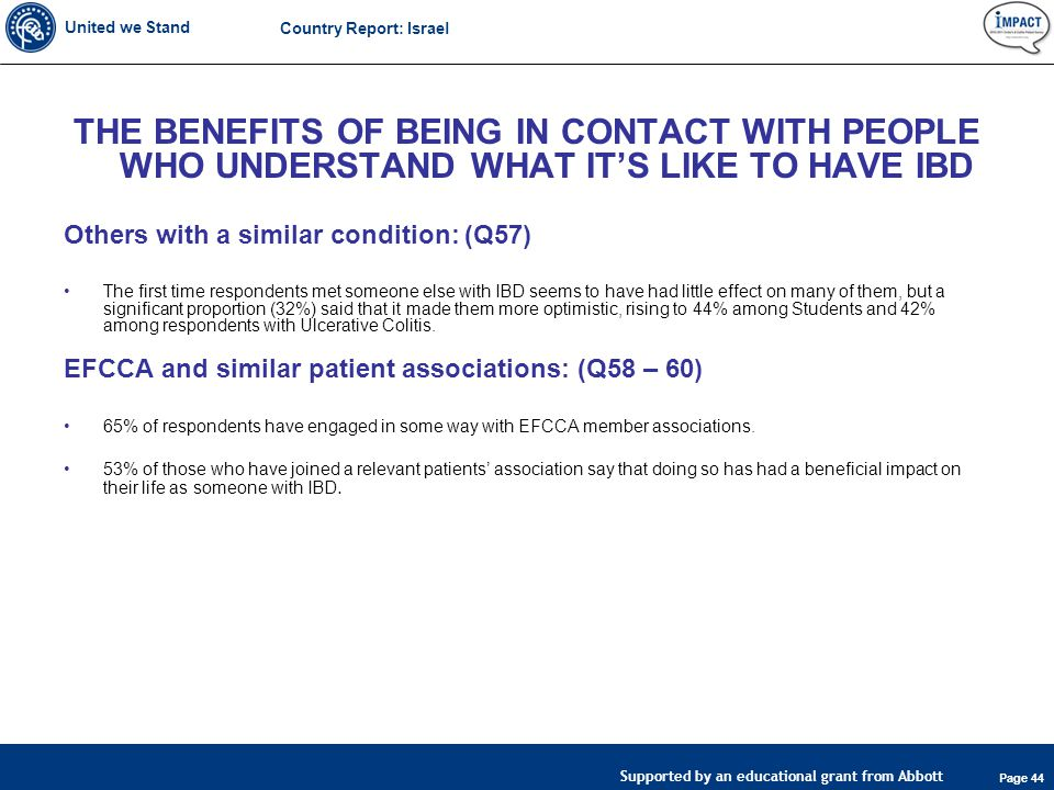 United we Stand Page 44 Supported by an educational grant from Abbott Country Report: Israel THE BENEFITS OF BEING IN CONTACT WITH PEOPLE WHO UNDERSTAND WHAT IT'S LIKE TO HAVE IBD Others with a similar condition: (Q57) The first time respondents met someone else with IBD seems to have had little effect on many of them, but a significant proportion (32%) said that it made them more optimistic, rising to 44% among Students and 42% among respondents with Ulcerative Colitis.
