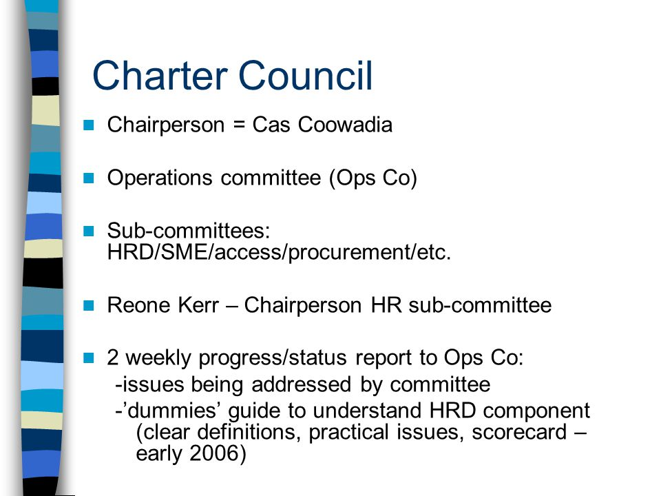 Charter Council Chairperson = Cas Coowadia Operations committee (Ops Co) Sub-committees: HRD/SME/access/procurement/etc. Reone Kerr – Chairperson HR s