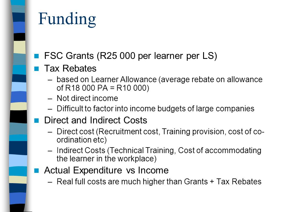 Funding FSC Grants (R25 000 per learner per LS) Tax Rebates –based on Learner Allowance (average rebate on allowance of R18 000 PA = R10 000) –Not direct income –Difficult to factor into income budgets of large companies Direct and Indirect Costs –Direct cost (Recruitment cost, Training provision, cost of co- ordination etc) –Indirect Costs (Technical Training, Cost of accommodating the learner in the workplace) Actual Expenditure vs Income –Real full costs are much higher than Grants + Tax Rebates