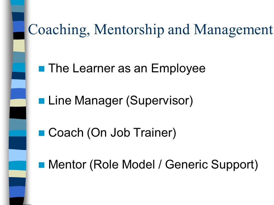 Coaching, Mentorship and Management The Learner as an Employee Line Manager (Supervisor) Coach (On Job Trainer) Mentor (Role Model / Generic Support)