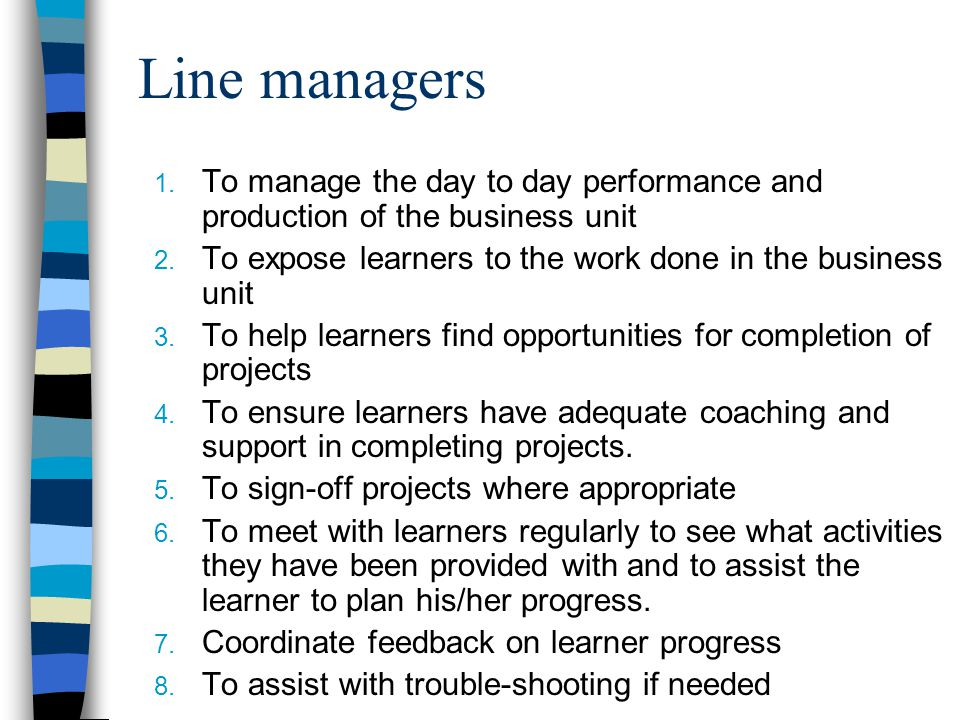 Line managers 1. To manage the day to day performance and production of the business unit 2. To expose learners to the work done in the business unit