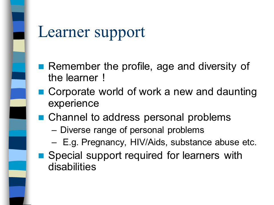 Learner support Remember the profile, age and diversity of the learner ! Corporate world of work a new and daunting experience Channel to address pers