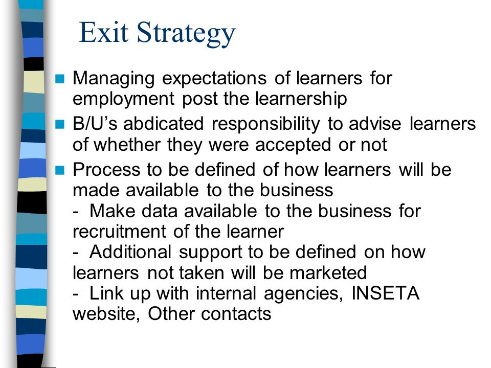 Exit Strategy Managing expectations of learners for employment post the learnership B/U's abdicated responsibility to advise learners of whether they were accepted or not Process to be defined of how learners will be made available to the business - Make data available to the business for recruitment of the learner - Additional support to be defined on how learners not taken will be marketed - Link up with internal agencies, INSETA website, Other contacts