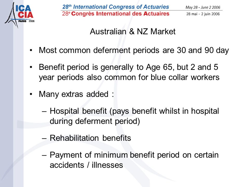 Australian & NZ Market Most common deferment periods are 30 and 90 day Benefit period is generally to Age 65, but 2 and 5 year periods also common for