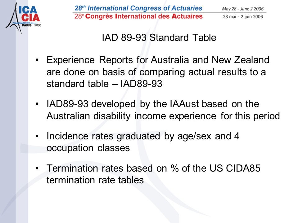 IAD 89-93 Standard Table Experience Reports for Australia and New Zealand are done on basis of comparing actual results to a standard table – IAD89-93