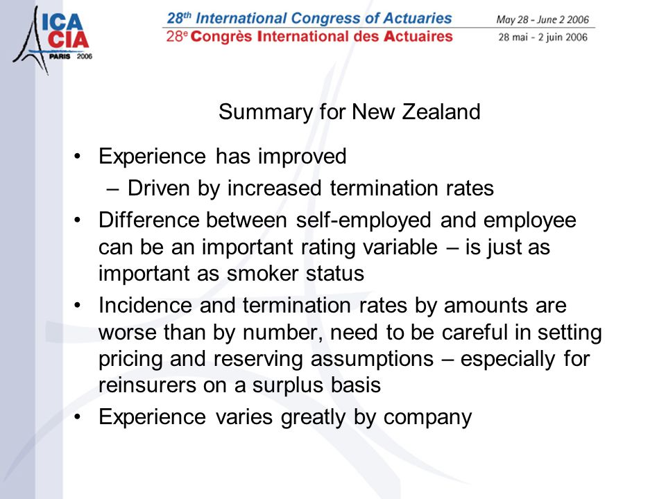Summary for New Zealand Experience has improved –Driven by increased termination rates Difference between self-employed and employee can be an importa