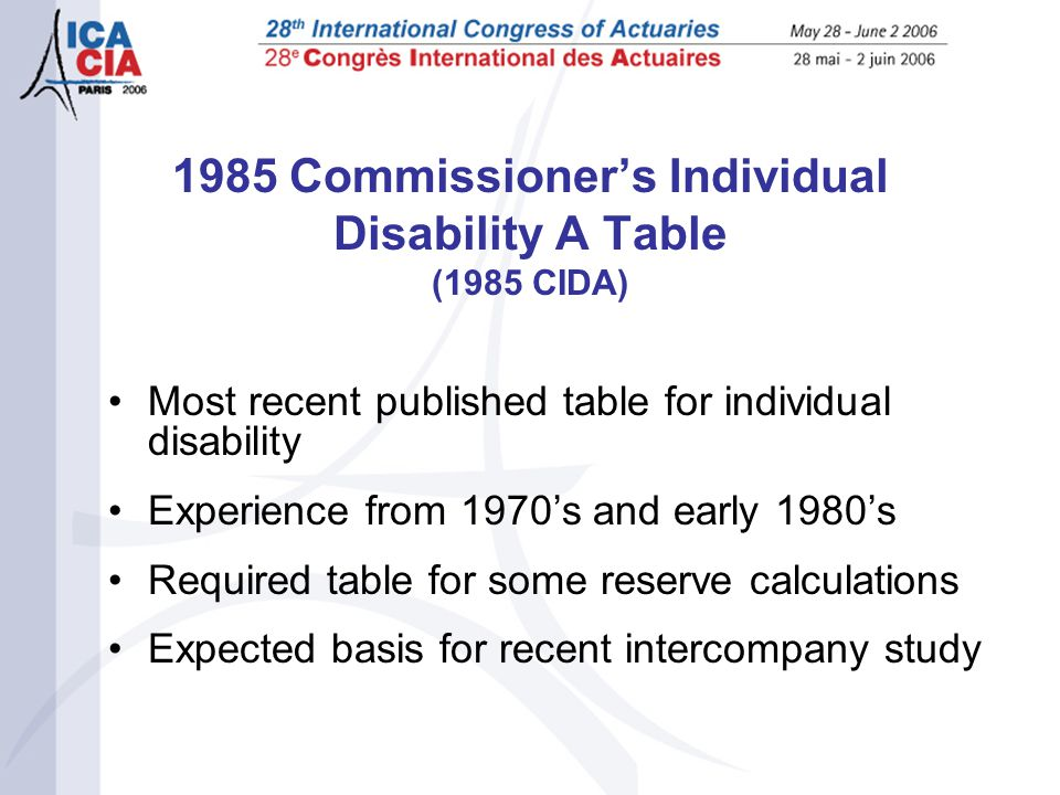 1985 Commissioner's Individual Disability A Table (1985 CIDA) Most recent published table for individual disability Experience from 1970's and early 1