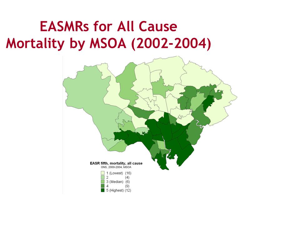 EASMRs for All Cause Mortality by MSOA (2002-2004)