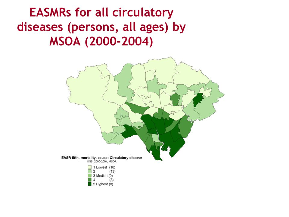 EASMRs for all circulatory diseases (persons, all ages) by MSOA (2000-2004)