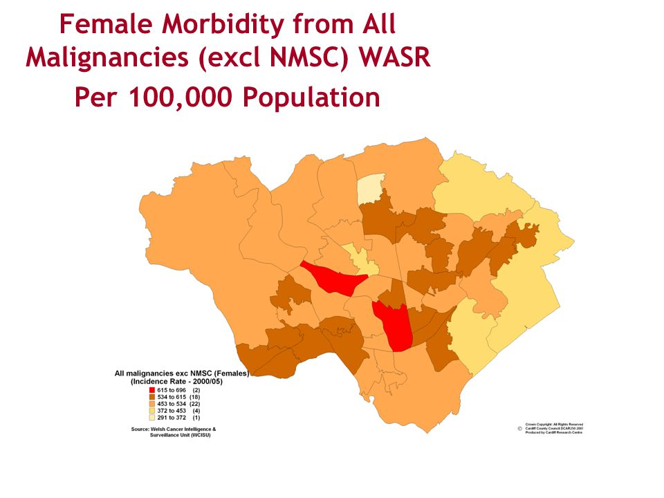 Female Morbidity from All Malignancies (excl NMSC) WASR Per 100,000 Population