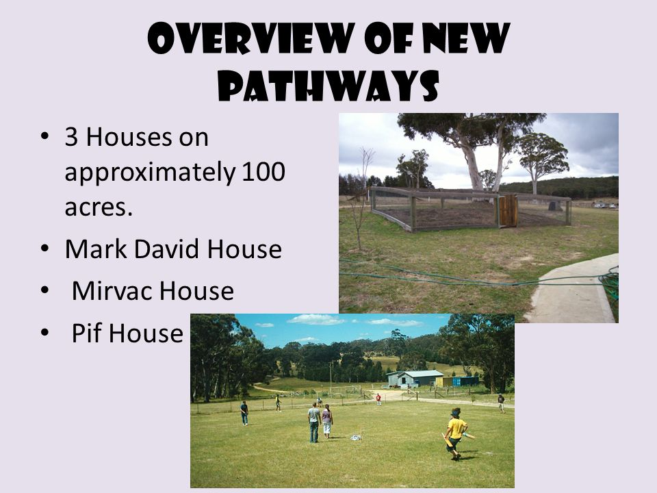 Overview of new Pathways 3 Houses on approximately 100 acres. Mark David House Mirvac House Pif House