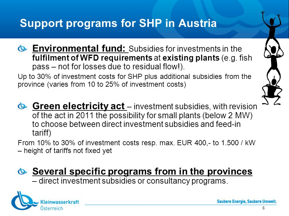 """Areas of conflicting interests 7 Nature conservation RES directive and national energy strategies – need for green electricity Climate protection WF directive – prodection of river ecology Security of energy supply AIM: Augmentation of HP electricity whilst respecting the aims of WFD - keeping """"good ecological status SHP and good ecological status is compatible!"""