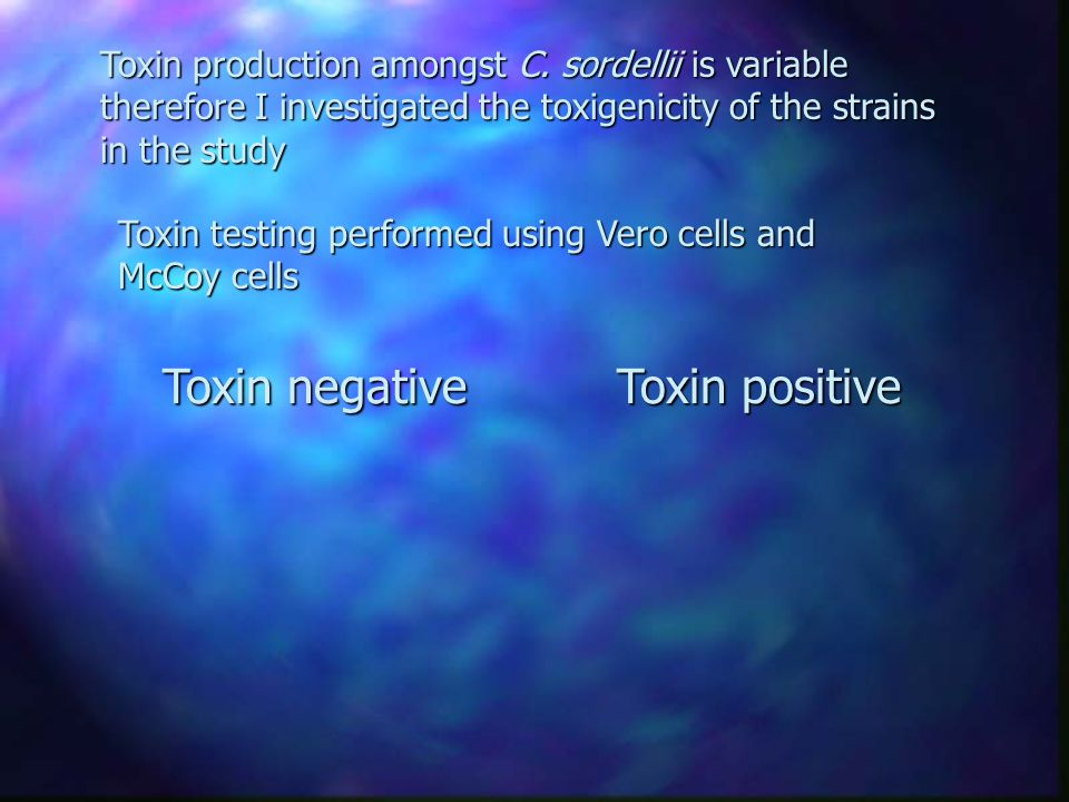 Toxin testing performed using Vero cells and McCoy cells Toxin positive Toxin negative Toxin production amongst C.