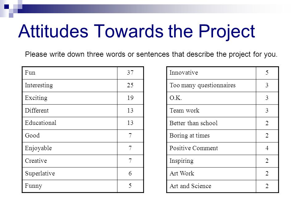 Attitudes Towards the Project Innovative5 Too many questionnaires3 O.K.3 Team work3 Better than school2 Boring at times2 Positive Comment4 Inspiring2