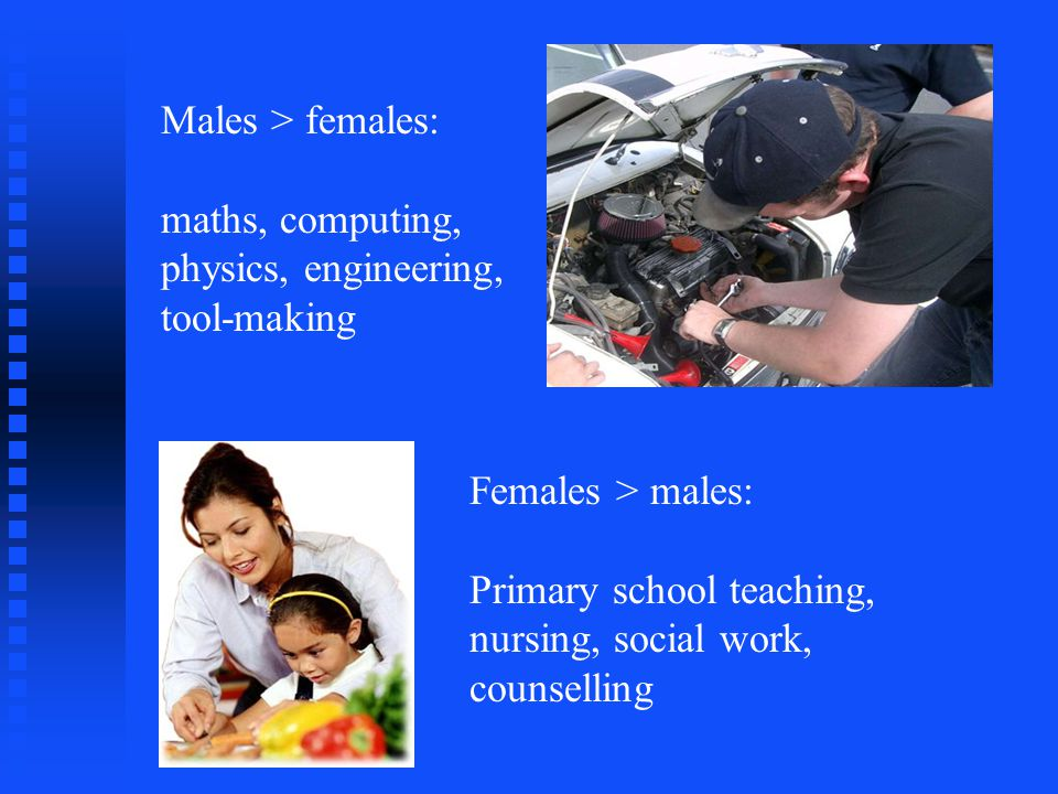 Males > females: maths, computing, physics, engineering, tool-making Females > males: Primary school teaching, nursing, social work, counselling