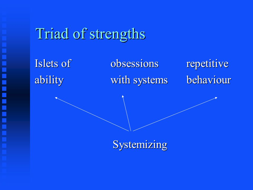 Triad of strengths Islets ofobsessionsrepetitive abilitywith systemsbehaviour Systemizing