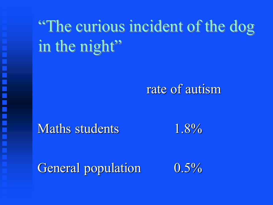 """The curious incident of the dog in the night"" rate of autism Maths students1.8% General population0.5%"