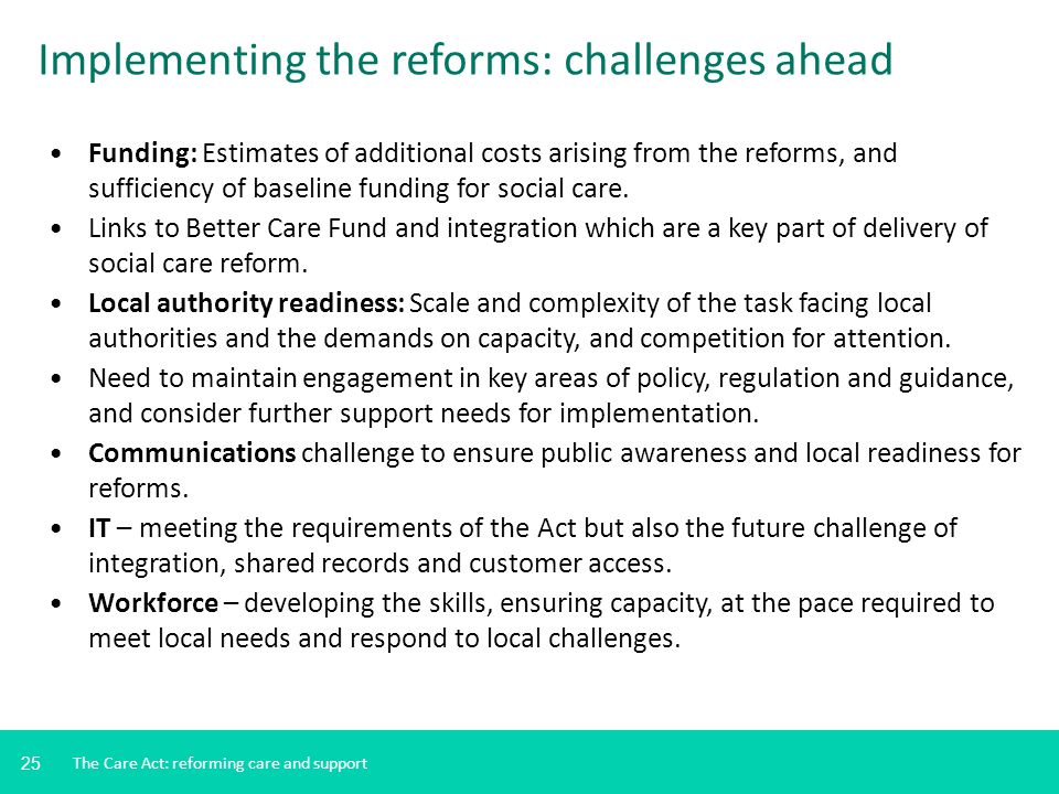 25 Funding: Estimates of additional costs arising from the reforms, and sufficiency of baseline funding for social care. Links to Better Care Fund and