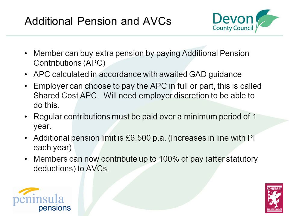 Additional Pension and AVCs Member can buy extra pension by paying Additional Pension Contributions (APC) APC calculated in accordance with awaited GAD guidance Employer can choose to pay the APC in full or part, this is called Shared Cost APC.