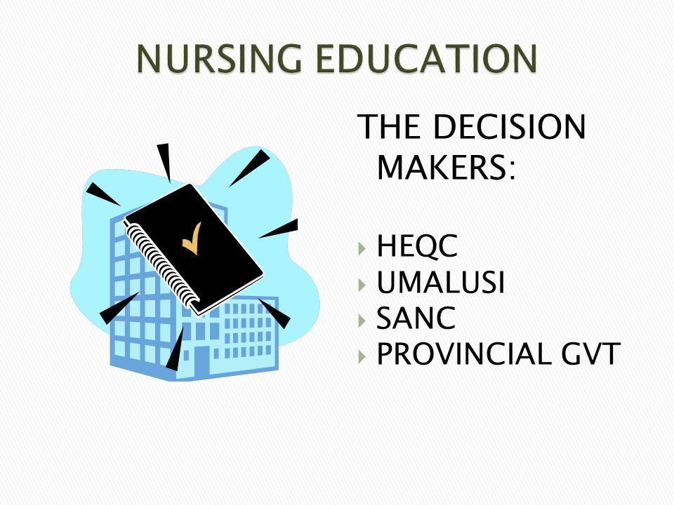 THE DECISION MAKERS:  HEQC  UMALUSI  SANC  PROVINCIAL GVT