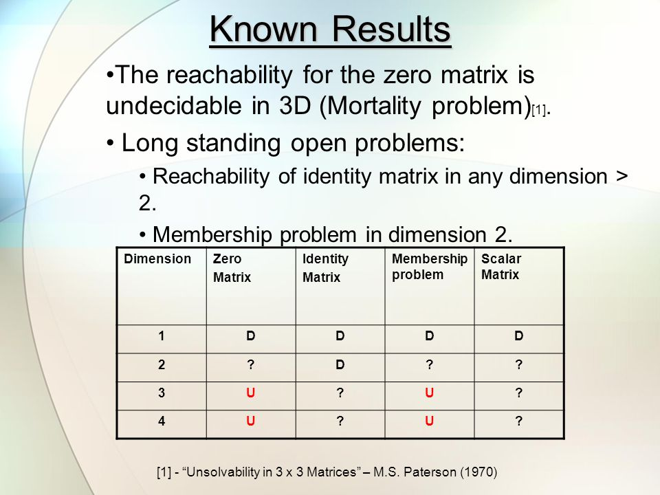 A Related Problem We consider a related problem to those on the previous slide; the reachability of a diagonal matrix.