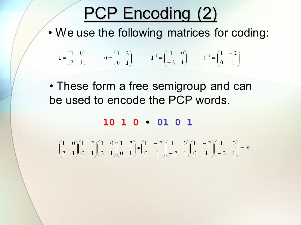 Index Coding We use an index coding which also forms a palindrome: 1312  (1) 01000101001 (1) 00101000101 We require two additional auxiliary matrices.
