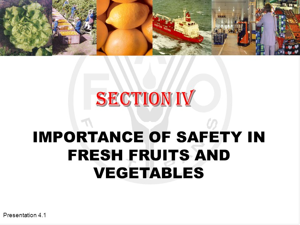 Presentation 4.1 IMPORTANCE OF SAFETY IN FRESH FRUITS AND VEGETABLES
