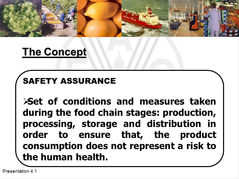 Presentation 4.1 SAFETY ASSURANCE  Set of conditions and measures taken during the food chain stages: production, processing, storage and distribution in order to ensure that, the product consumption does not represent a risk to the human health.
