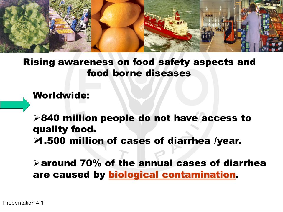 Presentation 4.1 GOVERNMENT RESPONSIBILITY Protection of human population from hazards in agricultural and food products that pose a threat to human health.