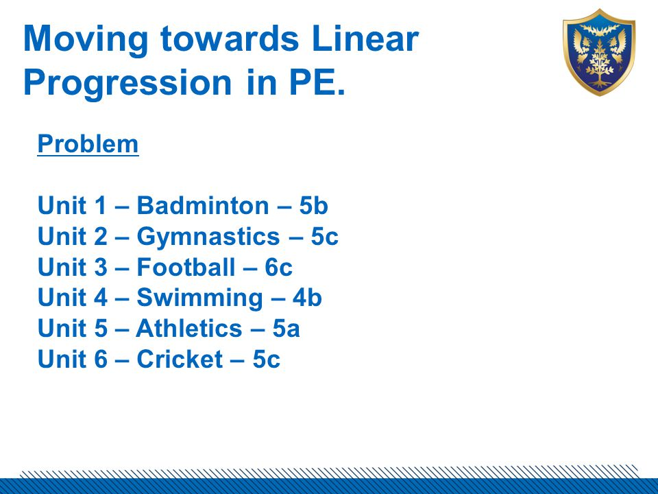 Moving towards Linear Progression in PE.