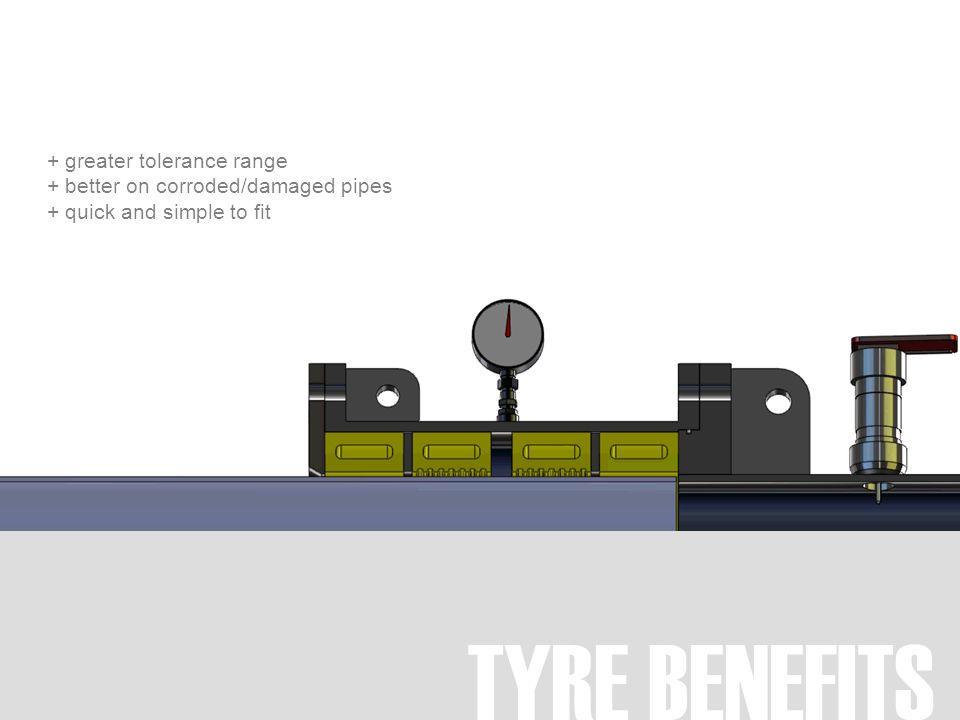 TYRE BENEFITS + greater tolerance range + better on corroded/damaged pipes + quick and simple to fit