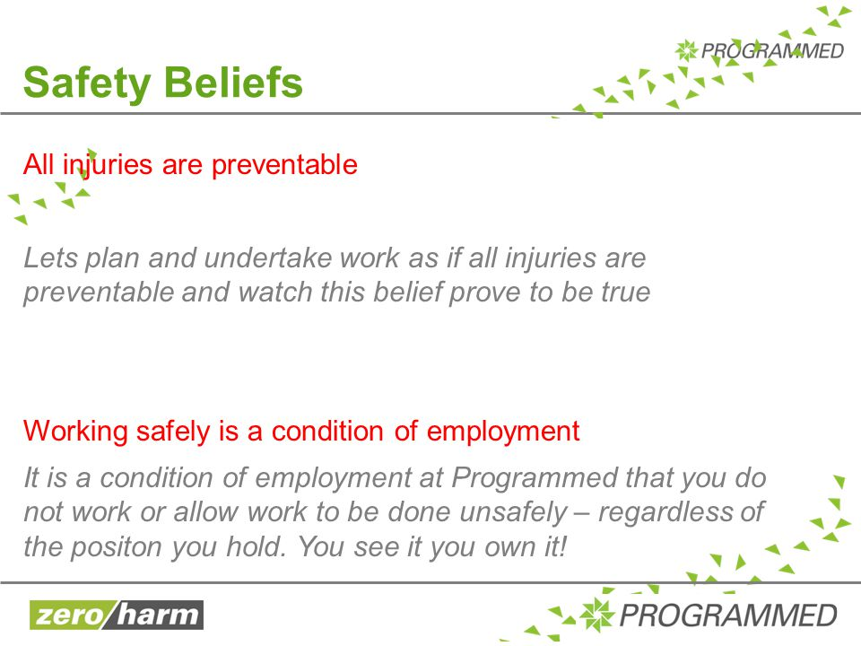 Safety Beliefs All injuries are preventable Lets plan and undertake work as if all injuries are preventable and watch this belief prove to be true Wor
