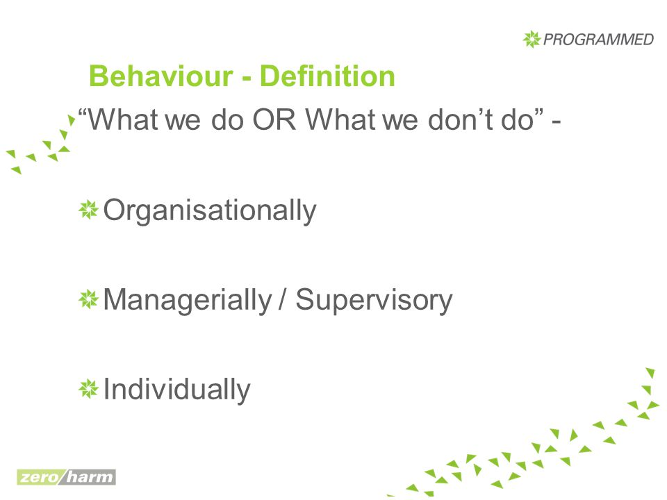 "Behaviour - Definition ""What we do OR What we don't do"" - Organisationally Managerially / Supervisory Individually"