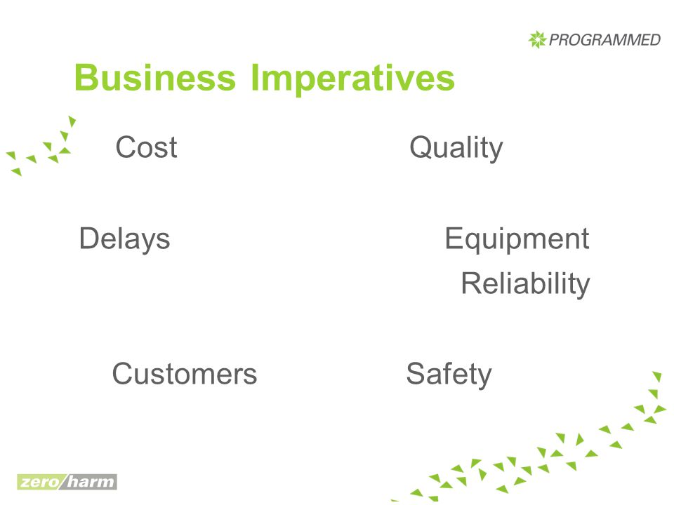 Business Imperatives Cost Quality Delays Equipment Reliability Customers Safety