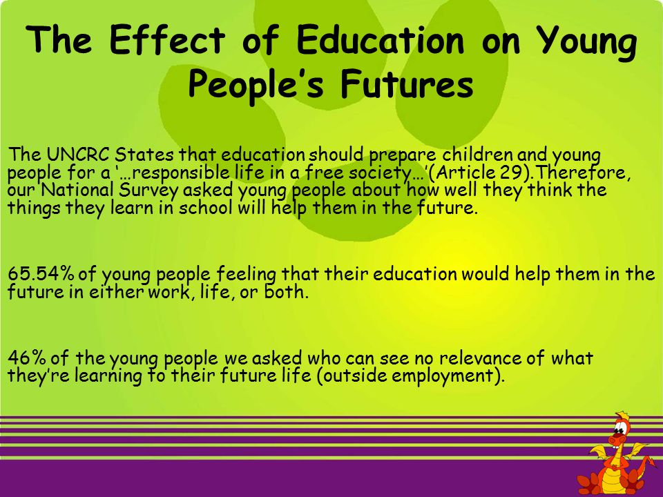 The UNCRC States that education should prepare children and young people for a '…responsible life in a free society…'(Article 29).Therefore, our National Survey asked young people about how well they think the things they learn in school will help them in the future.