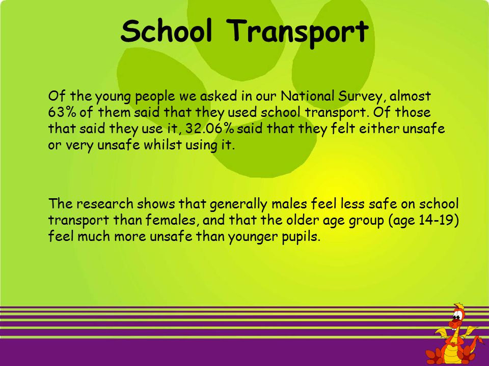 School Transport Of the young people we asked in our National Survey, almost 63% of them said that they used school transport.