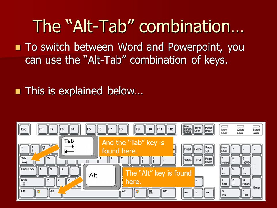 """The """"Alt-Tab"""" combination… To switch between Word and Powerpoint, you can use the """"Alt-Tab"""" combination of keys. To switch between Word and Powerpoint"""