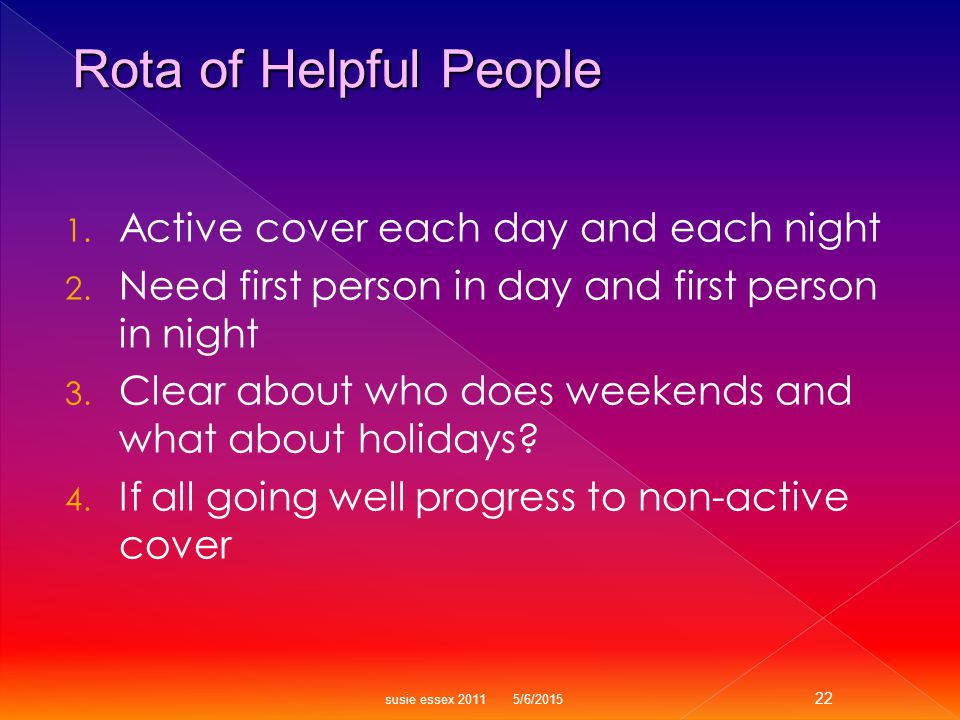 1. Active cover each day and each night 2. Need first person in day and first person in night 3.