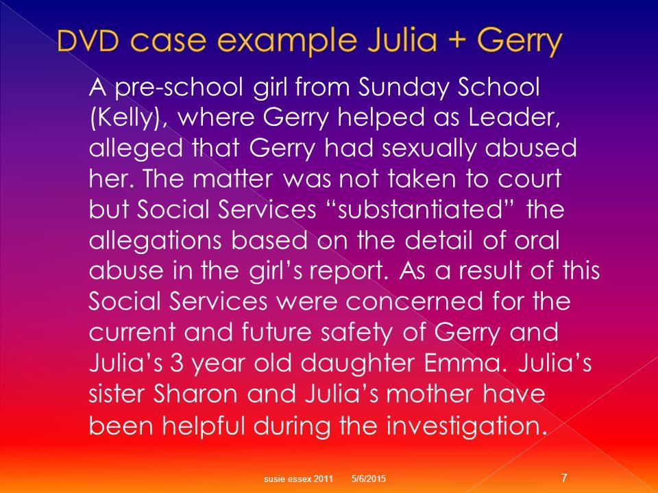 30 Sharon Julia 32 Artist Community Projects 36 Gerry Financial Advisor 4 KellyCSA Allegation 3 Emma Social WorkersChurch Nursery School Day Care Sunday School Teacher MGM