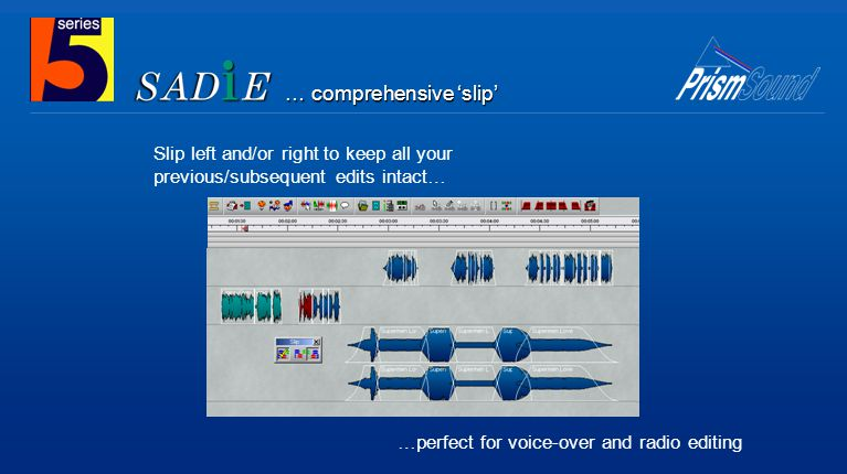 … comprehensive 'slip' Slip left and/or right to keep all your previous/subsequent edits intact… …perfect for voice-over and radio editing