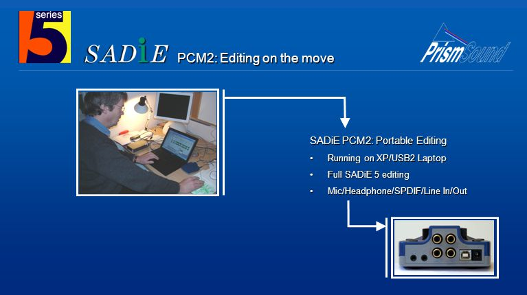 SADiE PCM2: Portable Editing Running on XP/USB2 Laptop Full SADiE 5 editing Mic/Headphone/SPDIF/Line In/Out PCM2: Editing on the move