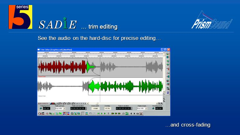 See the audio on the hard-disc for precise editing… …and cross-fading … trim editing
