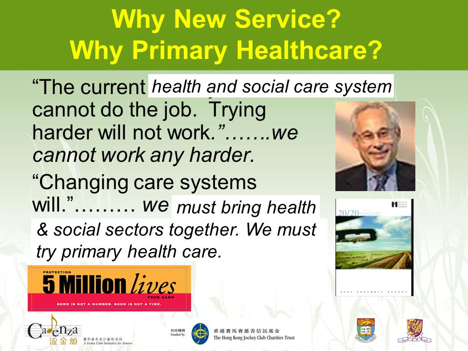Why New Service. Why Primary Healthcare. The current care systems cannot do the job.