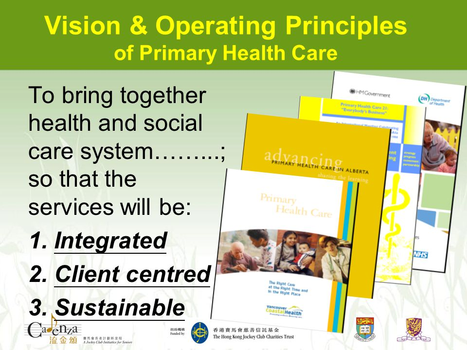To bring together health and social care system……...; so that the services will be: 1. Integrated 2. Client centred 3. Sustainable Vision & Operating