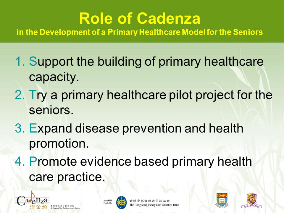 Support Building of Primary Healthcare Capacity (hub of coordination, exchange point) Primary Healthcar e Centre Residentia l Care Specialty Clinics Day Hospita l General Practitione rs Private Hospita ls EHCCS DECC Home Care ER Elderly Health Centre Public Hospita l Adult Day Care Day Surger y Eye Care Ear Care TCM HKJC CADENZA Hub